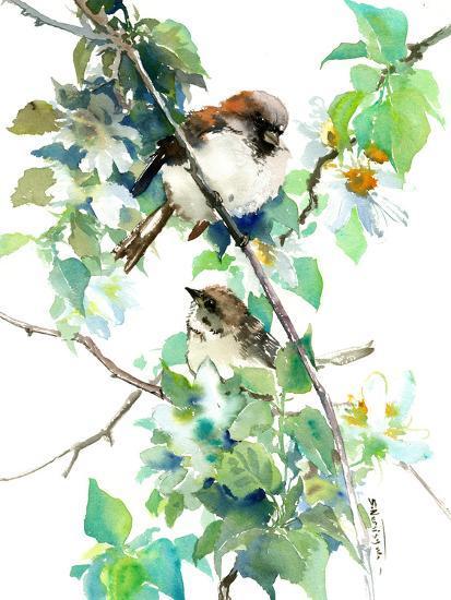 Sparrow Spring Blossom-Suren Nersisyan-Art Print
