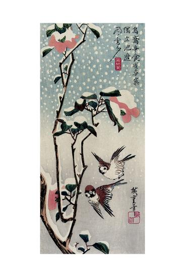 Sparrows and Camellias in the Snow, 1830s-Utagawa Hiroshige-Giclee Print