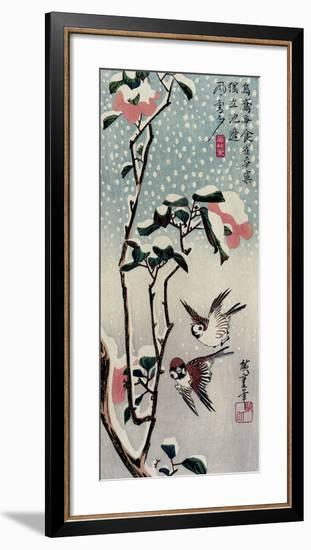 Sparrows and Camellias in the Snow, 1830s-Utagawa Hiroshige-Framed Giclee Print