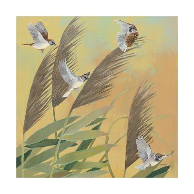 Sparrows and Phragmates Sq-Kathrine Lovell-Art Print