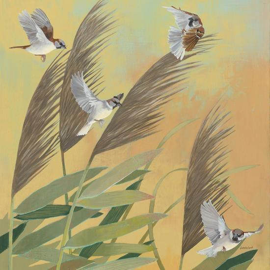 Sparrows and Phragmates Sq-Kathrine Lovell-Art Print