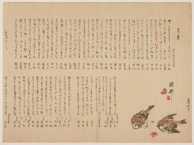 Sparrows and Plum Flowers, 1823-Yokoyama Kazan-Giclee Print