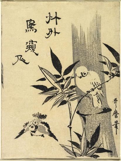 Sparrows on Bamboo Branch, C. 1781-1806-Kitagawa Utamaro-Giclee Print