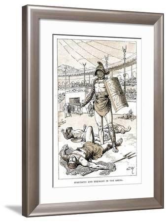 Spartacus and Hermann in the Arena, Late 19th Century--Framed Giclee Print