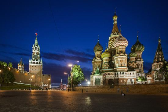 Spasskaya Tower, also Called Savior's Tower, and Saint Basil's Cathedral at Night-Kent Kobersteen-Photographic Print