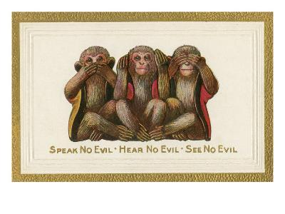 Speak, Hear, See No Evil, Three Monkeys--Art Print