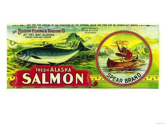 Spear Salmon Can Label - Yes Bay, AK-Lantern Press-Art Print
