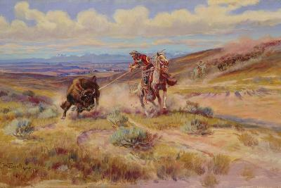 Spearing a Buffalo, 1925-Charles Marion Russell-Giclee Print