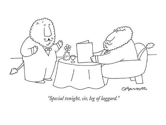 """Special tonight, sir, leg of laggard."" - New Yorker Cartoon-Charles Barsotti-Premium Giclee Print"
