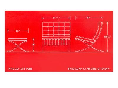 Specifications of Barcelona Chair and Ottoman--Art Print