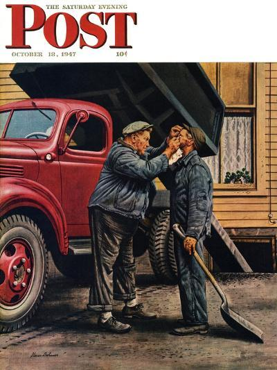 """""""Speck of Coal,"""" Saturday Evening Post Cover, October 18, 1947-Stevan Dohanos-Giclee Print"""