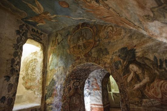 Spectacular Frescos Cover an Underground Chapel at the Convent of Santa Clara, Cusco-Beth Wald-Photographic Print