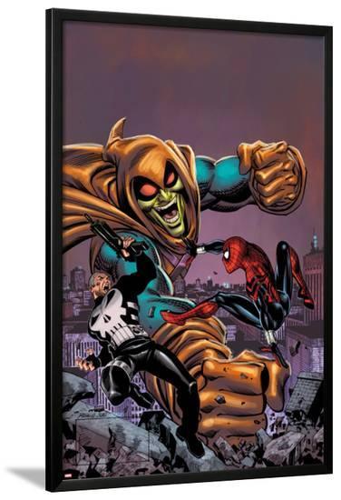 Spectacular Spider-Girl No.4: Punisher, Spider-Girl, and Hobgoblin Fighting and Smashing-Ron Frenz-Lamina Framed Poster