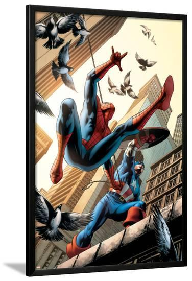 Spectacular Spider-Man No.16 Cover: Spider-Man and Captain America Fighting-Michael Ryan-Lamina Framed Poster