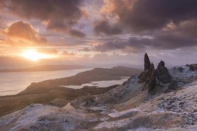 Spectacular Sunrise over the Old Man of Storr, Isle of Skye, Scotland. Winter (December)-Adam Burton-Photographic Print