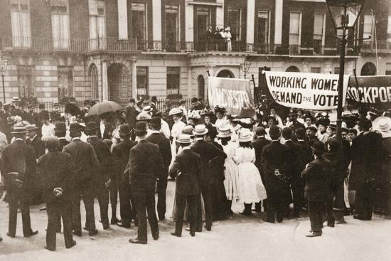 Spectators gather on Portland Place to watch the Women's Sunday procession, London, 21 June 1908-Unknown-Photographic Print