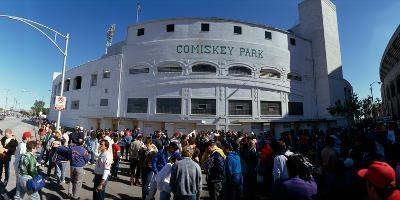 Spectators in front of a baseball stadium, U.S. Cellular Field, Chicago, Cook County, Illinois, USA--Photographic Print