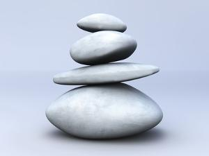 Balancing Stones. 3D Rendered Illustration by Spectral