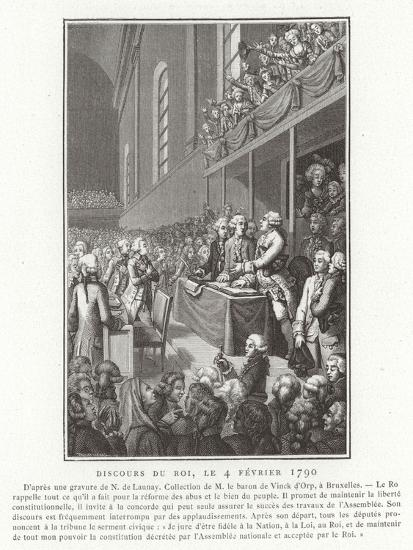 Speech by King Louis XVI of France to the National Assembly, French Revolution, 4 February 1790--Giclee Print