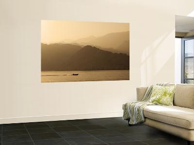 Speedboat Motoring Beneath Silhouetted Mountain Ridges Sloping Towards the Gulf of Oman-Mark Daffey-Wall Mural