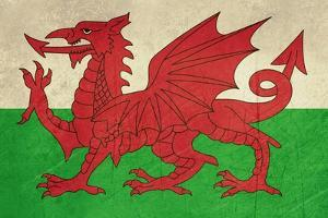 Grunge Welsh Dragon Flag Illustration, Isolated On White Background by Speedfighter
