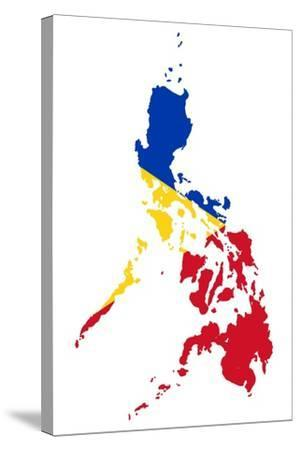 Illustration Of The Philippines Flag On Map Of Country; Isolated On White Background