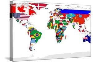 Map canvas artwork for sale posters and prints at art map of world with flags in relevant countries isolated on white background by speedfighter gumiabroncs Choice Image