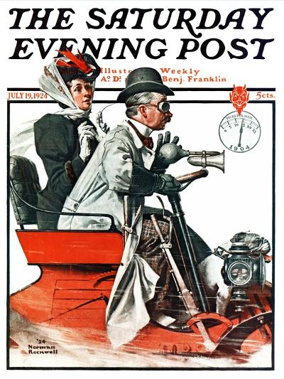 """""""Speeding Along"""" Saturday Evening Post Cover, July 19,1924-Norman Rockwell-Giclee Print"""