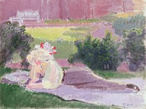 The Artist's Wife in the Garden of Rowlandson House by Spencer Frederick Gore