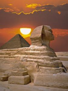 Sphinx and Pyramid at Sunset
