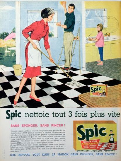 Spic Cleans Three Times Faster', Advertisement for 'Spic' Floor Cleaner, from 'Elle'--Giclee Print