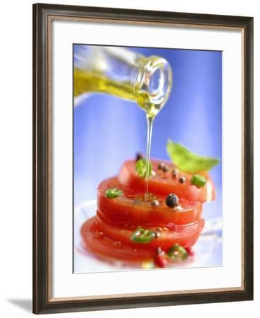Spiced Tomatoes Being Drizzled with Olive Oil-Jean-Paul Chassenet-Framed Photographic Print