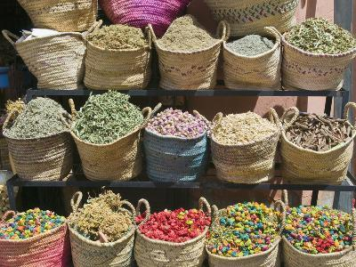 Spices for Sale, Souk in the Medina, Marrakech (Marrakesh), Morocco-Nico Tondini-Photographic Print