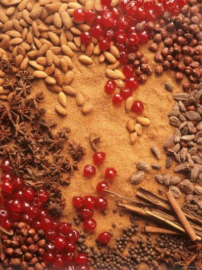 Spices, Nuts, Almonds and Cherries Forming a Surface-Luzia Ellert-Photographic Print