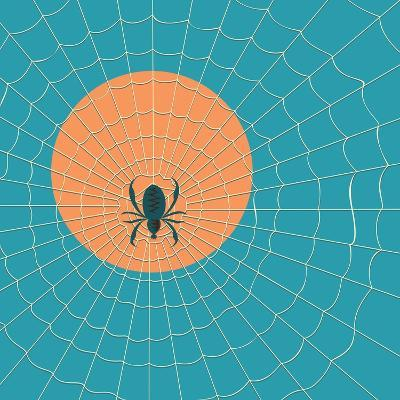 Spider in a Web on a Background of the Setting Sun- Zhukov-Art Print