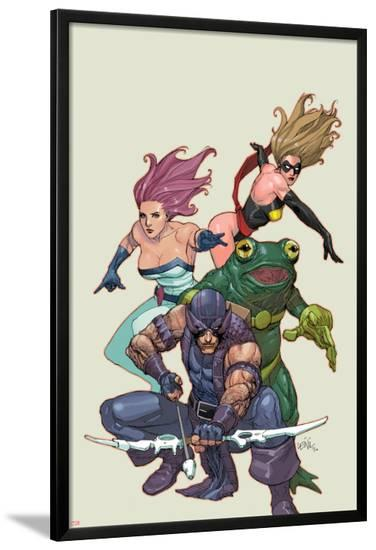 Spider-Island: Avengers No.1: Hawkeye, Ms. Marvel, Jessica Jones, and Frog-Man-Leinil Francis Yu-Lamina Framed Poster