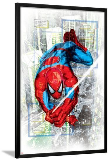 Spider-Man Badge: Squares and City in Background, Spider-Man Swinging--Lamina Framed Poster