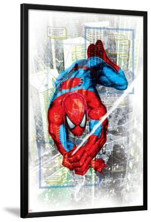 Spider-Man Badge: Squares and City in Background, Spider-Man Swinging