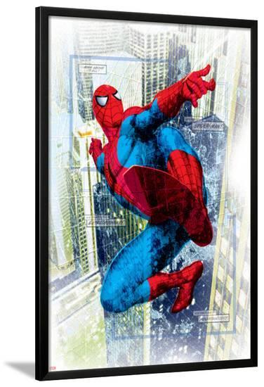 Spider-Man Badge: Squares and City in Background, Spider-Man Swinging--Lamina Framed Poster