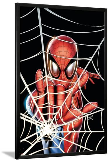 Spider-Man: Brand New Day - Extra!! No.1 Cover: Spider-Man Charging-Greg Land-Lamina Framed Poster