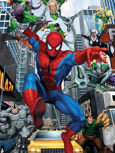 Spider-Man, Doctor Octopus, Green Goblin, Vulture, Black Cat, Electro, Lizard, Rhino and Sandman--Art Print
