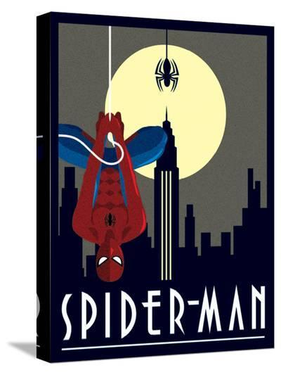 Spider-Man Hanging--Stretched Canvas Print