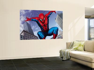 Spider-Man Jumping In the City--Wall Mural