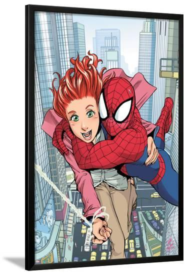 Spider-Man Loves Mary Jane No.1 Cover: Spider-Man, and Mary Jane Watson-Takeshi Miyazawa-Lamina Framed Poster