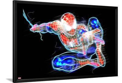 Spider-Man Neon Badge: Spider-Man Posing--Lamina Framed Poster