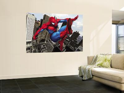 Spider-Man Swinging In the City--Wall Mural