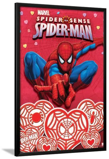Spider Sense Spider-Man: Valentines and Hearts, Spider-Man Posing--Lamina Framed Poster
