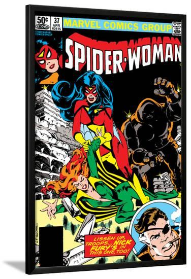 Spider-Woman No.37 Cover: Spider Woman, Siryn, Juggernaut and Nick Fury-Steve Leialoha-Lamina Framed Poster