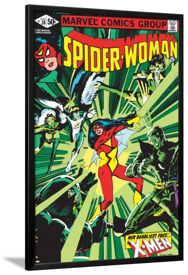 Spider-Woman No.38 Cover: Spider Woman, Colossus, Juggernaut, Angel, Storm and X-Men-Steve Leialoha-Lamina Framed Poster