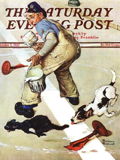 """""""Spilled Paint"""" Saturday Evening Post Cover, October 2,1937-Norman Rockwell-Giclee Print"""
